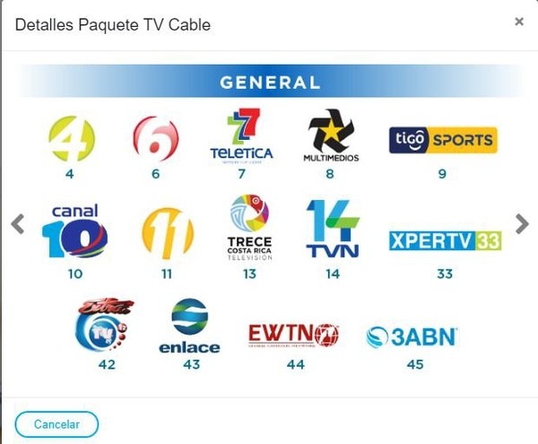 En esta imagen tomada del sitio web de Coopelesca se ve que ofrecen el canal Tigosports. Tomado de Internet