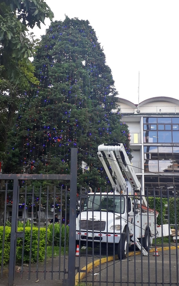 La Compañía Nacional de Fuerza y Luz, a las 9:55 de la mañana de este 12 de noviembre, seguía trabajando en la colocación de las bombillitas del arbolito del Hospital Nacional de Niños. Foto Ovidio Muñoz.