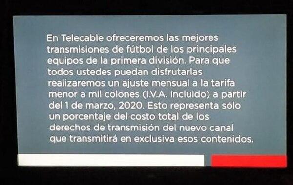 Telecable también dio a conocer el aumento. Tomado de El Financiero