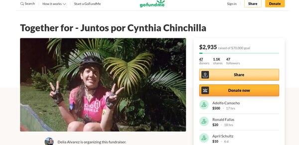 Una prima de la paciente abrió una cuenta en la plataforma GoFundMe para recaudar plata. Foto: Cortesía de Cynthia Chinchilla.
