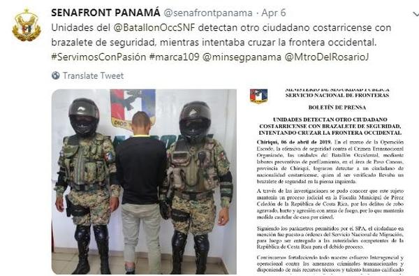 Las autoridades panameñas informaron sobre las detenciones de los ticos en sus redes sociales. Foto: Tomada de Twitter