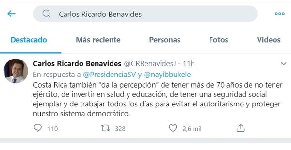 El presidente de El Salvador, que no estudió nada, le tira a Costa Rica por el Covid-19. El diputado Carlos Ricardo Benavides le responde.