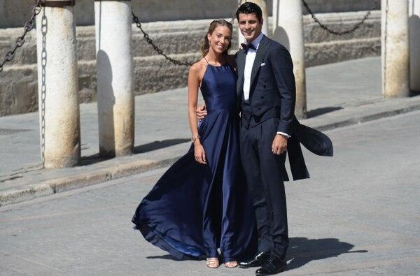 Álvaro Morata, ahora jugador del Atlético de Madri, fue otro de los invitados junto su señora Alice Campello. AFP