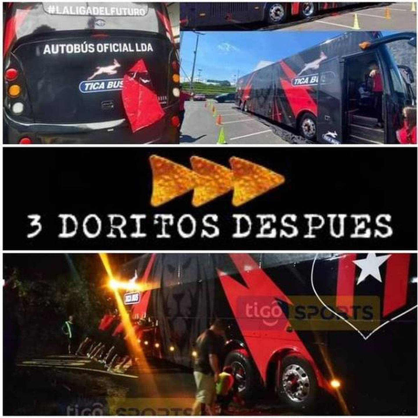El bus en donde viaja Alajuelense se accidentó y los memes no se hicieron esperar. Cortesía.