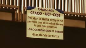 Con pancartas en Circunvalación familia agradece a equipo del Ceaco por salvar a papá del covid-19