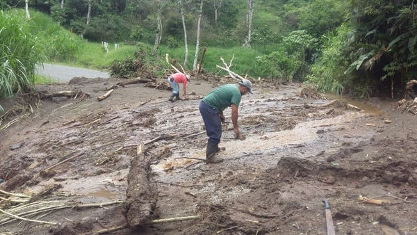 Los vecinos están dedicados a limpiar los caminos. Foto: Carlos Hernández.