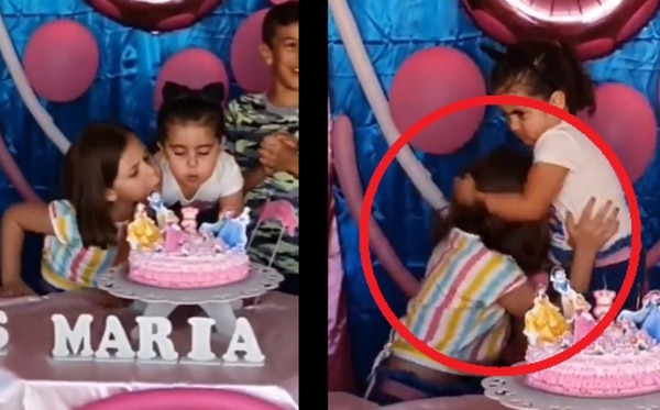 La reacción de ambas niñas causó mucha risa y por eso se volvió viral. Captura de video