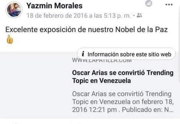 Estas son las publicaciones por las cuales están cuestionando a la exmiss Costa Rica Yazmín Morales. Tomada de Facebook