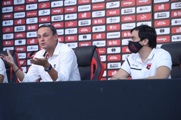 Fernando Ocampo y Enrique Morúa son dos de los artificies de las finanzas sanas de Alajuelense. Fotografia: John Durán