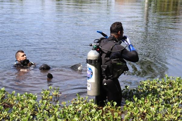 Los agentes bucearon en el lago de la vivienda del lider que es un empresario de palma aceitera. Fotos de OIJ.