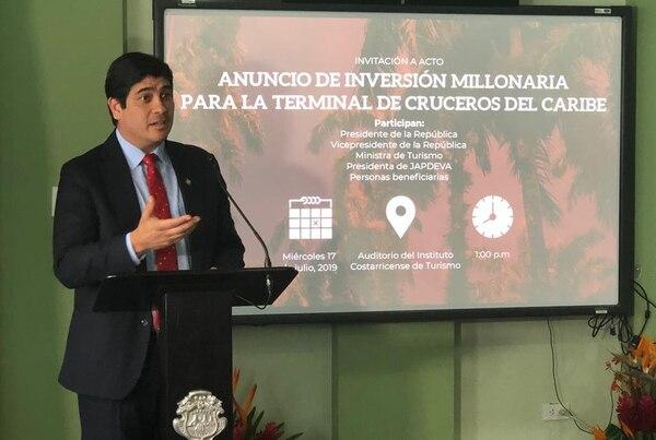 El presidente Carlos Alvarado anunció en abril una inversión millonaria en Limón. Foto: Juan Diego Córdoba