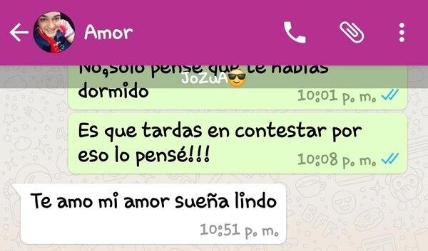 Este es el último mensaje que el envió Jonathan a la novia. Foto: Cortesía de Dafne González.