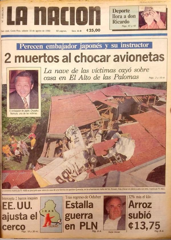 El trágico accidente fue portada del periódico La Nación. Fotos Archivo.