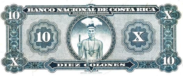 Fue el Banco Nacional, en 1939, el último que imprimió billetes con el rostro de un indígena tico, se dice que es una pintura fundamentada en el último rey de Talamanca, Antonio Saldaña. Cortesía.