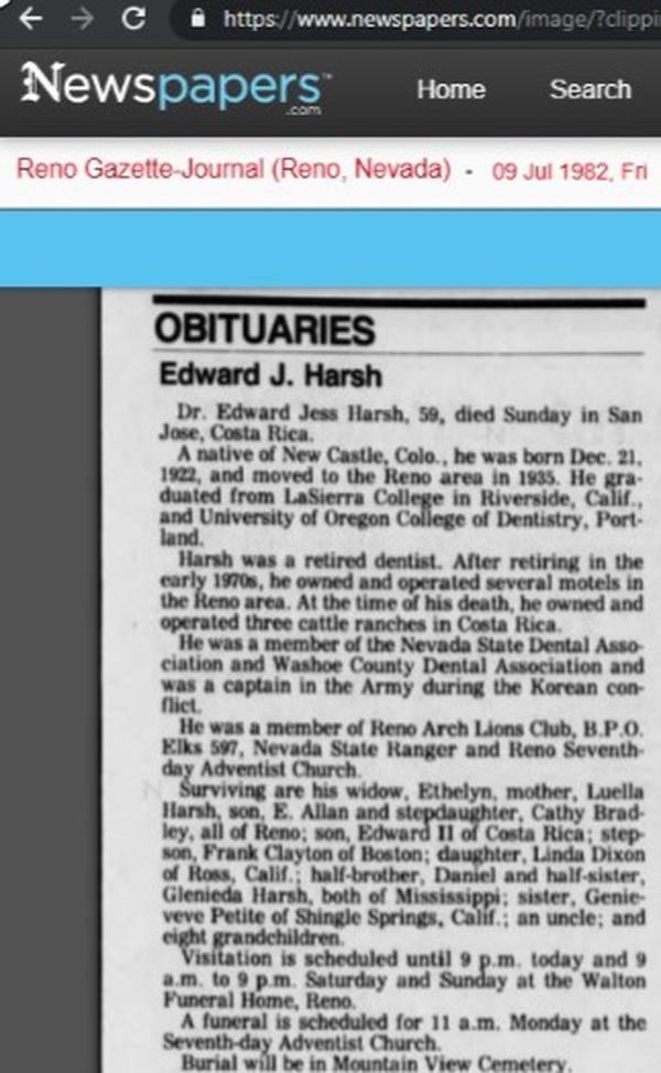 En Reno Nevada los medios publicaron obituarios de la muerte de Edward Jess.