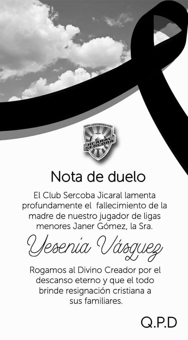 El equipo de Jicaral, mostró de esta forma su solidaridad con el jugador Janer Gómez de la Sub 15, por la muerte de su madre. Foto Facebook .