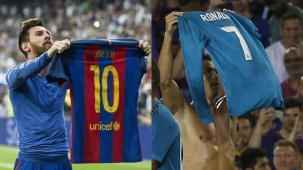 Cristiano Ronaldo imitó el gesto de Lionel Messi en el pasado clásico de Liga en el Bernabéu, luego de anotar el 2-3 contra los merengues. CR7 lo hizo este domingo al marcar el segundo gol blanco en el Camp Nou. AFP