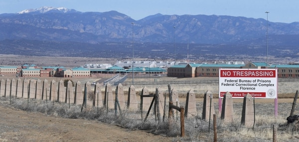 The Rocky Mountains can be seen in the distance behind the Federal Correctional Complex near Florence, Colo. Within the complex is Supermax, where Mexican drug kingpin Joaquin