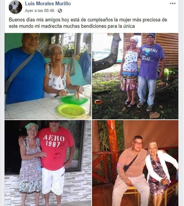 Horas antes de morir Luis Fernando publicó en 'Face' fotos de su mamá para desearle feliz cumpleaños. Foto: Tomada de Facebook.