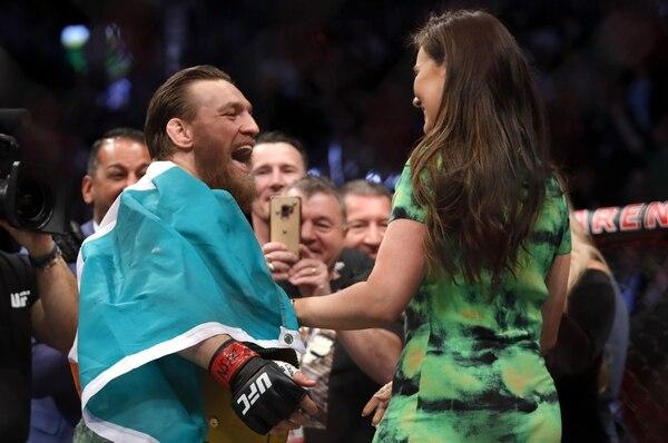 El irlandés celebró con su novia Dee Devlin en Las Vegas, Nevada. Foto: Steve Marcus/Getty Images/AFP