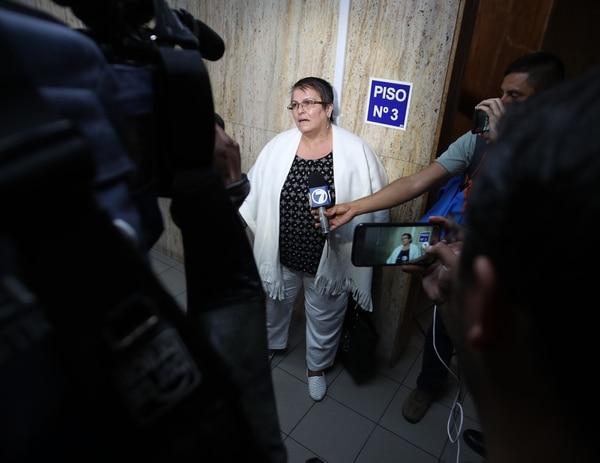 María Otárola solo asistió al primer día del juicio. Foto John Durán.