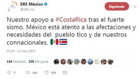México se solidariza con Costa Rica por el fuerte sismo ocurrido en Jacó