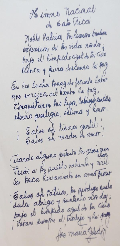 Esta es una copia de la letra escrita de puño y letra de Zeledón. John Durán.