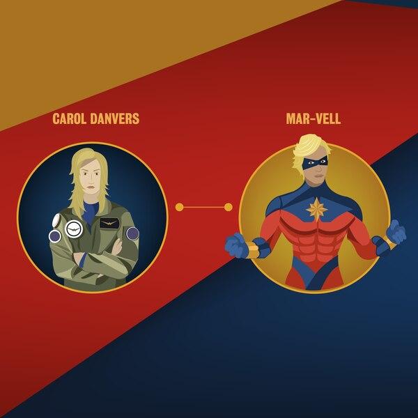 Una explosión de un arma Kree hace que el ADN de Danvers se combine con el de Mar-Vell, naciendo así la superheroína. Ilustración: Francella Zamora