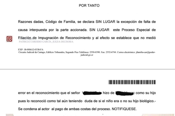 Sentencia de JUZGADO DE FAMILIA DE cARTAGO CONTRA lUIS VALERÍN por paternidad y pensión. Foto: Cortesía