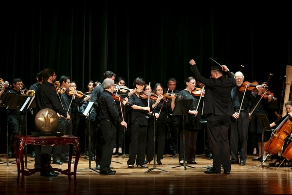 Los músicos de la Orquesta Sinfónica Nacional dieron una breve presentación luego del gran anuncio. Foto: Marcela Bertozzi