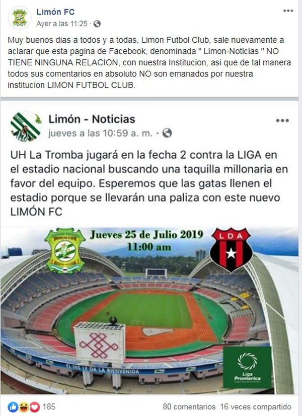 Ellos informan sobre el equipo, pero le tiran con todo a los rivales y la gente cree que es el Facebook oficial del equipo. Foto: Facebook
