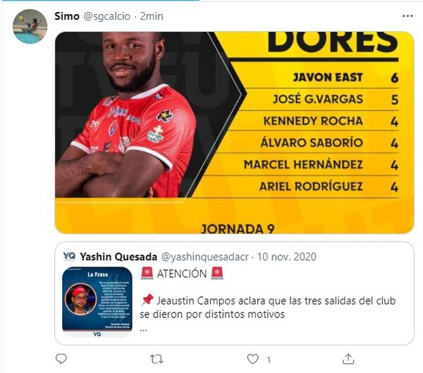 El agente de Javon East le mandó una indirecta muy directa a Jeaustin Campos. Foto: Twitter.