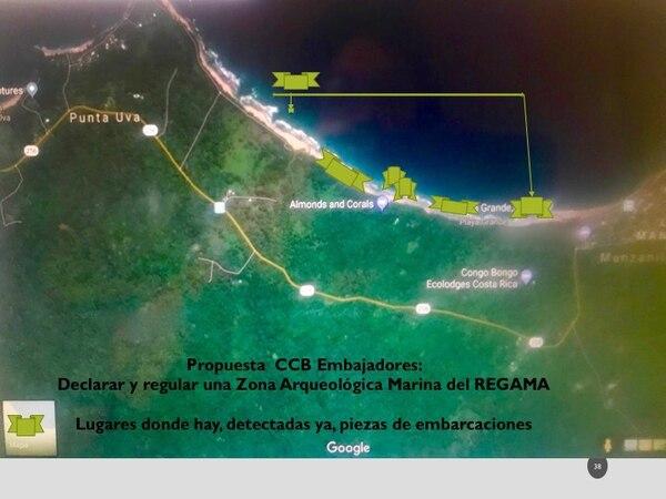 Mapa de la propuesta del Centro Comunitario de Buceo embajadores, para declarar y regular la zona arqueológica marina del Refugio Gandoca Manzanillo. Foto: Cortesía María Suárez