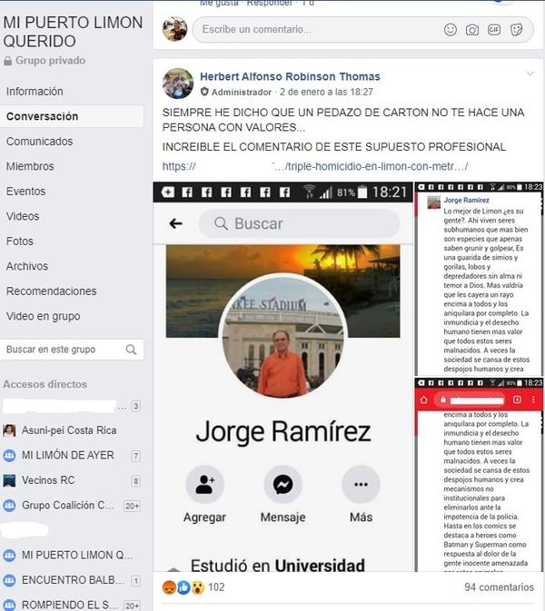 Jorge Ramírez se ganó el repudio de los limonenses por su comentario tras un triple homicidio ocurrido en Limón. Foto: Tomado de Facebook