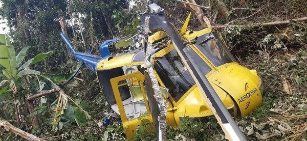 El helicóptero ya había sufrido un accidente en el 2010 en Limón. Foto cortesía.