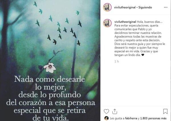 La macha le contó al mundo el quiebre con Pablo por Instagram. Captura de pantalla del Instagram oficial de Viviana Calderón.