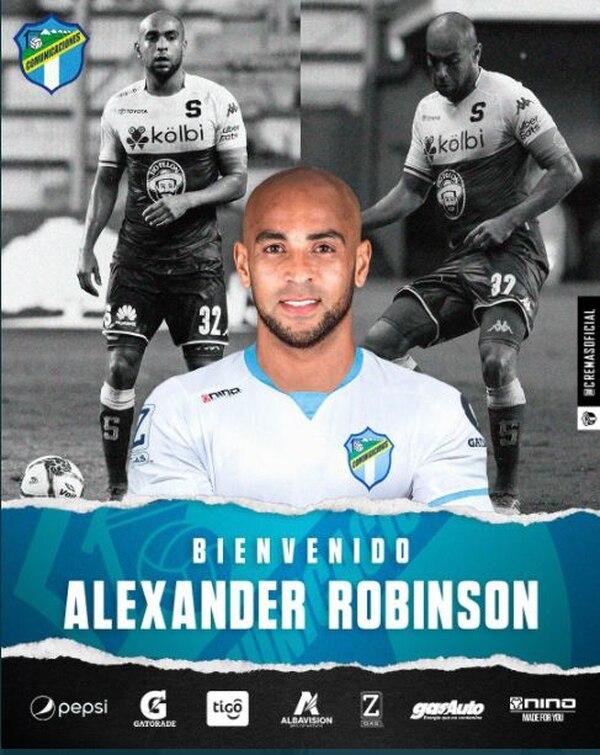 El Comunicaciones será el segundo club de Robinson en tierras chapinas. Instagram.