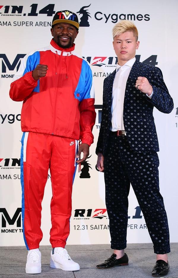 Puro papel fue esta conferencia de prensa en suelo asiático. (Photo by Handout / Rizin Fighting Federation / AFP) /