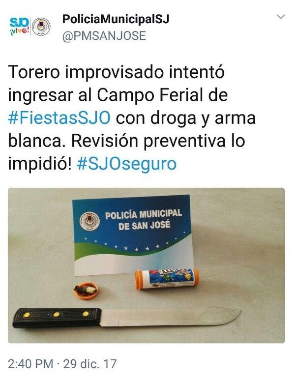 Esto fue lo que le decomisaron al improvisado. Twitter Policía Municipal de San José.