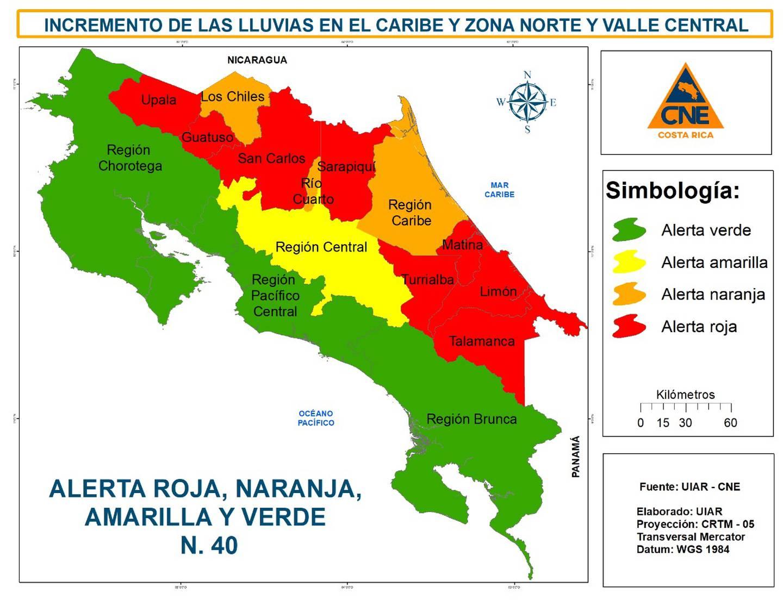 alerta roja en 8 cantones por lluvias. Foto CNE