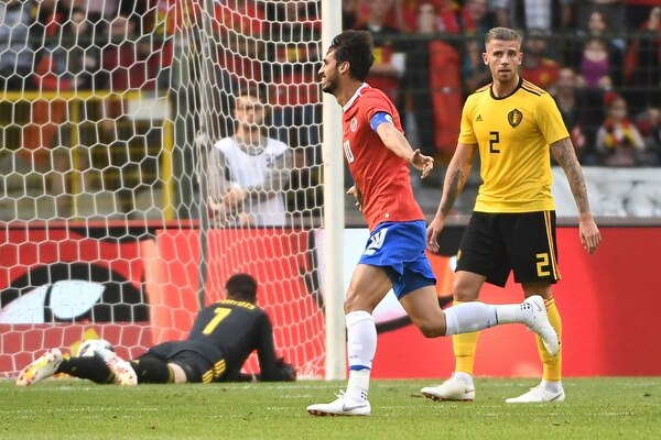 Bryan Ruiz anotó el gol de Costa Rica ante Bélgica / AFP PHOTO / EMMANUEL DUNAND