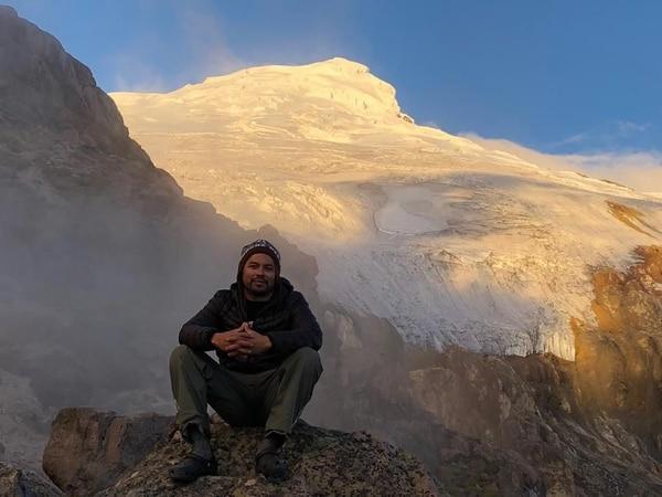 Esta foto se la tomó el deportista en el volcán Cayambe, en Ecuador. Foto: Cortesía de Berny Sandoval.