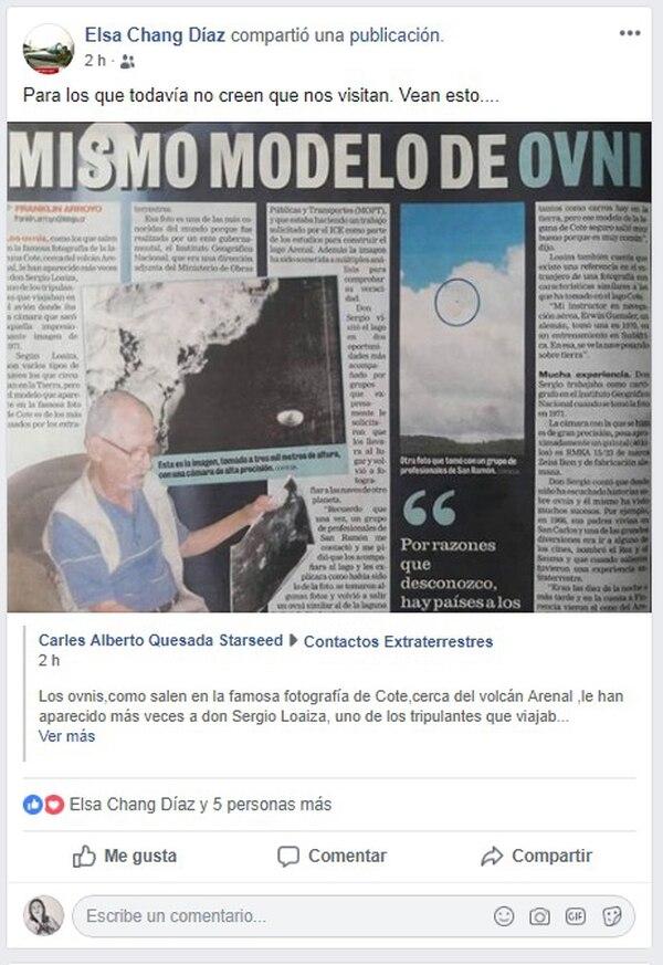 Esta fue la publicación que compartío doña Elsa Chang y que nos hizo buscarla para preguntarle acerca de los ovnis. Foto: Face
