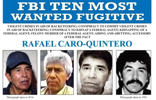 Actualmente Rafael Caro Quintero es uno de los hombres más buscados por el FBI y la DEA. (FBI via AP)