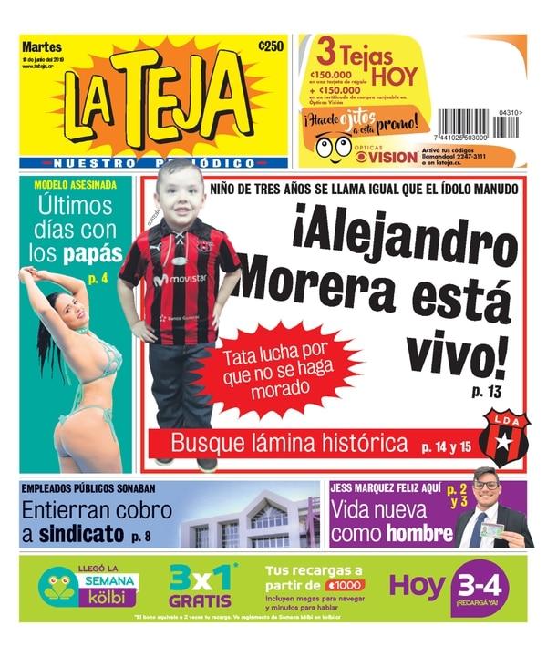 La historia del pequeño Morera Soto salió en la portada de La Teja este martes.