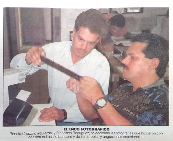 Ronald Chacón y Francisco Rodríguez también tuvieron a los asaltabancos a pocos metros. Foto Archivo.