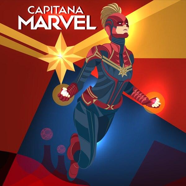 La Capitana Marvel se espera que sea el personaje más poderoso en las pelis de Marvel. Ilustración: Francela Zamora