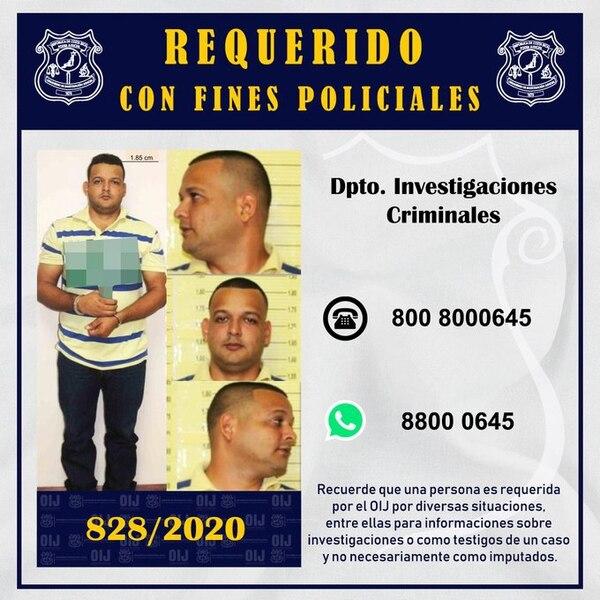 Arias es uno de los hombres más buscados por el OIJ y la Policía. Foto OIJ.