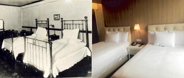 Las habitaciones fueron remodeladas y ahora lucen camas acogedoras y de acuerdo a las exigencias de los turistas. En la foto de la izquierda, una imagen muy antigua de dichos cuartos de hotel. Foto archivo y Shirley Sandí.