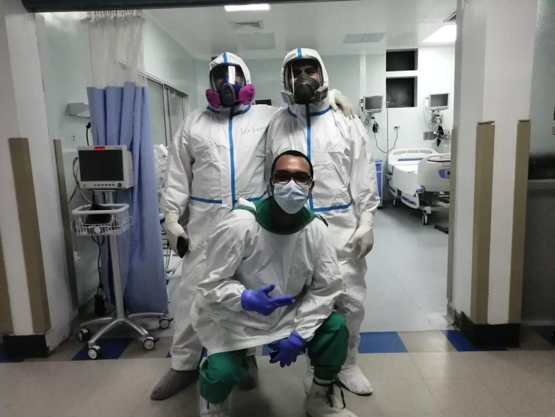 Dr. Alvaro Vargas, enfermero Oder Meza y Allan Granados asistente de pacientes  conforman el equipo 1 de Golfito. Foto: Cortesía